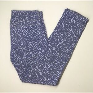 J. Crew Blue Polka Dot Stretch Toothpick Jeans